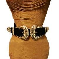 correa de cintura de las mujeres de la vendimia al por mayor-Nueva Moda Mujer Correa de La Vendimia de Metal Pin Hebilla Cinturones de Cuero Para Las Mujeres Diseñador elástico atractivo ahueca hacia fuera las correas de cintura ancha