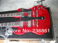 Wholesale mahogany double neck resale online - TOP Musical Instruments SG String RED Double neck electric guitar