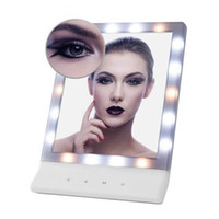 Wholesale Wall Mounted Light Mirror - Women's LED Makeup Cosmetic Mirror Multiple Illumination Large Screen Wall Mount Mirror with 18 LED Light