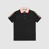 Wholesale High Collar Men - Free shipping high-quality collar short sleeve T-shirt calico luxury fashion lapel breathable good man leisure fashion medusa