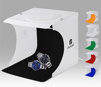 accesorios de iluminacion para fotografia al por mayor-2018 Venta caliente Mini Photo Studio Box Fotografía Telón de fondo de luz incorporada Photo Box Pequeños artículos Fotografía Caja Studio Accesorios