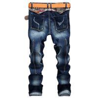 мужские брюки новые поступления оптовых-2018 New Arrivals Jeans-men Blue Jeans Man Straight Leg Stretchy Classic Casual Denim Pants Male  Urban Trousers Men