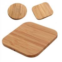 carregador qi madeira venda por atacado-Carregador sem fio de madeira de bambu 5 v1a qi carregador sem fio para iphone 8 x xs max xr s9 além de assento de carregamento sem fio