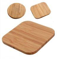 qi chargeur bois achat en gros de-Chargeur sans fil en bois de bambou Chargeur sans fil 5V1A Qi pour Iphone 8 X XS max XR S9 plus siège de chargement sans fil