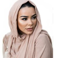bufandas de jersey liso al por mayor-Lana alta calidad mujeres musulmanas 100% rayón raya jersey bufanda hijab