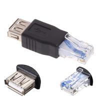 ingrosso prese di cavo lan-10pcs USB Tipo A femmina a RJ45 maschio Ethernet LAN Router Presa di corrente