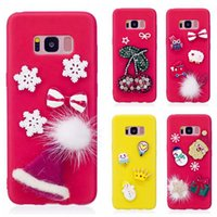 Wholesale santa claus glitter - 3D Santa Claus Soft Silicone Case For Galaxy Note S8 Plus S7 S7 J7 J5 J3 EU Christmas Gift Bling Diamond Glitter Hat Snow Gel Cover
