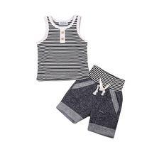 ingrosso giacche per neonati-Summer Baby Boy Clothes Set Cotton Vest T-shirt senza maniche Top + Short Pants 2pcs Infant Boys Outfit Button a strisce Boys Set di abbigliamento