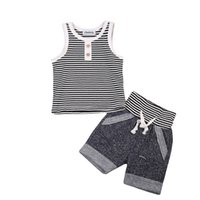 erkek yaz yelekleri başında toptan satış-Yaz Erkek Bebek Giysileri Set Pamuk Yelek Kolsuz T gömlek Tops + Kısa Pantolon 2 adet Bebek Erkek Kıyafetler Çizgili Düğme Erkek Giyim Setleri