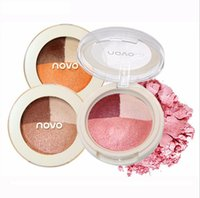Wholesale Pumpkin Baking - Fashion novo 3 color baked eyeshadow popular pumpkin mermaid grapefruit color does not blooming earth color eyemakeup CZ0201206