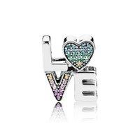 núcleos de contas de prata esterlina venda por atacado-925 Sterling Silver Carta de Amor Encantos Cor de Cristal de diamante Jóias Beads europeus fit Pandora Pulseira Encantos com caixa Original