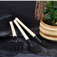 mini bahçe takım setleri toptan satış-Mini set açık bonsai bahçe araçları el yapımı bitki dikim çiçek Maça / kürek bahçe el aletleri üç parça