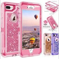 universal case iphone plus großhandel-Bling Kristall Liquid Glitter Fall 360 schützen Designer Phone Case klar Roboter stoßfest wasserdicht rückseitige Abdeckung für iPhone X XS MAX s10 plus