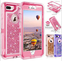 Wholesale iphone cellphone cases - high quality bling crystal Liquid glitter case 360 degree cellphone protector Defender rugged shockproof waterproof phone case back cover