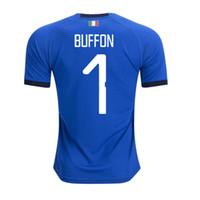 italienische tasse großhandel-2018 Weltmeisterschaft Italien zu Hause blau Fußball Trikots Italienisch VERRATTI Totti 10 PIRLO 18 Buffon 1 Fußball Trikots Uniform Erwachsene