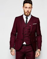 Wholesale new design men formal suit for sale - Group buy 2018 New Design Men Wedding Suits Groom Formal Suit Two Buttons Burgundy Tuxedo Jacket Men Suit Pieces Costume Homme