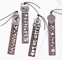 marcadores kawaii al por mayor-Lindo Kawaii Creativo Caballo Birdcage Hollow Metal Bookmark Regla Para Niños Estudiante Regalo Material Escolar