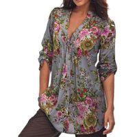 Wholesale women clothing online - Plus Size S XL Womens Vintage Floral Print V neck Tunic Tops Autumn Women s Fashion Blouses Women Clothes