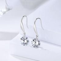 ingrosso porcellana di zircone-alta qualità genuino 925 sterling silver rotondo bianco chiaro orecchini zircone stud Cina design prezzi bassi all'ingrosso