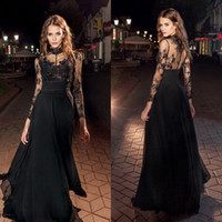 Wholesale Girls Holiday Dresses 12 - Sexy Illusion Black Prom Dresses 2018 Newest Sheer High Neck Long Sleeve Evening Gowns Romantic Girls Holiday Party Dresses Formal Wear