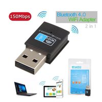 Wholesale Usb Wireless Network Adapter Linux - Mini Bluetooth 4.0 USB Adapter Add 2.4G WIFI 150Mbps Wireless 802.11n g b Network Card For Windows Linux Android Systems