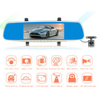 Wholesale front sensors for cars - Car Detector Dash Cam Hd 7 Inch Rearview Mirror Recorder Front And Rear Dual Lens Vehicle Night car dvr For Vision Wide-angle Dvr