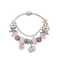 Wholesale murano snake pendants for sale - Group buy 925 Sterling Silver angel Charm Bracelet Pink Murano Beads Heart Pendant Chain Bracelet logo for Women Factory