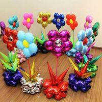 balão de chumbo venda por atacado-24 Polegada Flor Balões Folha Fontes Do Partido Estrada Chumbo Decoração de Casamento Feliz Aniversário Balões de Hélio Balão Inflável