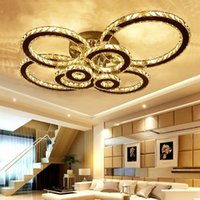 Wholesale flush chrome ceiling lights online - LED K9 Crystal Ceiling Light Flush Mount Chrome Ceiling Lights Lamp Round LED Chandelier Lighting Fixture with Remote for Living Room