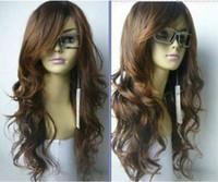 longo luz marrom perucas venda por atacado-LYCS venda Barato festa de dança cosplays100% Cabelo Real! Venda quente! New Long Vogue Light Brown Moda Cabelo Ondulado Perucas De Cabelo