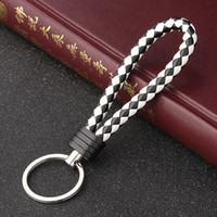 Wholesale handmade leather keychains online - Handmade Knitted Rope Making Leather Rope Keychain for Women Men for hanging bags Key Chain Porte Clef Chaveiro Keychains
