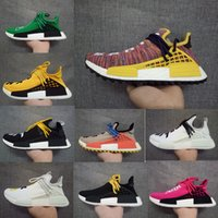 Wholesale Colorful Womens Shoes - Human Race NMD Shoes Rainbow Colorful Pharrell Williams New Arrival West Boost Sport Sneakers Fashion Men Womens Running Shoes With Box