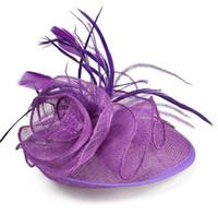 chapéu alaranjado de derby venda por atacado-Chapéus nupciais do casamento da flor nupcial para mulheres