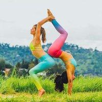 ingrosso yoga pants marche-Donne cambiamento graduale Stampa Yoga Pantaloni Leggings Fitness Donna Pantaloni sportivi Slim Abbigliamento sportivo Brand Running Stretto Yoga Capri