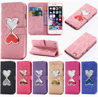 Wholesale Hourglass Liquid - Liquid Hourglass Leather Cases Kickstand Holder Cover Fashion Leather Case with Wallet Card Slot For iPhone X 8 7 6 6S Plus 5 5S S