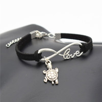 Wholesale Turtle Cute - AFSHOR Chic 2018 Beach Lovely Animals Jewelry Small Tortoise Cute Silver Sea Turtle Charms Love Infinity Leather Unique Men Bracelet Bangles
