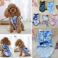 Wholesale chinese female clothes - Dog Chinese Cheongsam Style Clothes Floral Print Puppy Dog Pet Sleeveless Apparel Skirt 5 Styles AAA749