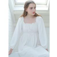 camisolas brancas vintage venda por atacado-Vestido de Noite do vintage Outono Mulheres Sleepwear Algodão Branco Homewear Gola Quadrada Sleepdress Camisola de Manga Longa Sleepshirts