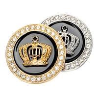 corona dorada de diamante al por mayor-Insignia de metal Pegatinas y calcomanías para automóviles Decoración personalizada Pegatina auto dorada / plateada Corona 3D Diamond Car-styling