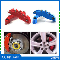 Wholesale rear wheel abs - free shipping 2pcs Set ABS Car Brake Caliper Front Rear Brake Caliper Cover Case Wheel Hub Decoration Accessories Front Rear Pliers