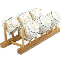 ingrosso piastra di scarico-Nuovo Bamboo Plate Drain Rack Pot coperchio piatto Bowl Cup Display Holder Book Storage Mensola Cucina Organizzatore LZ0871