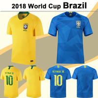Wholesale mens soccer shirts - 2018 World Cup NEYMAR JR COUTINHO Soccer Jersey PAULINHO Mens Football Jerseys Brazil National Team D.COSTA G.JESUS Home Away Yellow Shirts