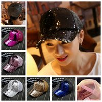 Wholesale blue dancer - Club Dancer Performance Stage Sequin Party Cap Adults Children Baseball Cap Glitter Sparkling Shiny Hats Adjustable colorful Christmas gift