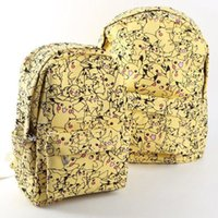 ingrosso zaini pikachu-Sacchetto di scuola dello zaino della tela del fumetto delle donne Sveglio Pikachu che stampa le borse dello zaino dello zaino Nuova moda BP0058