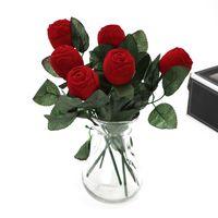 роза цветок кольцо поле оптовых-Роза цветок форма кольцо коробка Любовь День Святого Валентина уха ногтей организатор Resuable мини свадьба коробка ювелирных изделий красный 2 7hy х
