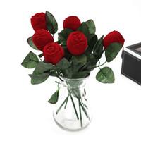 ingrosso scatola dell'anello del fiore di rose-Scatola portagioie a forma di fiore di rosa Scatola portagioie a chiodo dell'orecchio di giorno di San Valentino Scatola di gioielli da sposa mini resuable Red 2 7hy X