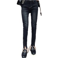 Wholesale Nymph Flies - NYMPH Brand 2018 New Autumn Winter Women Jeans Pants High Waist Vintage Skinny Slim Bodycon Jeans Fleece Lined Denim Trousers Free Shipping