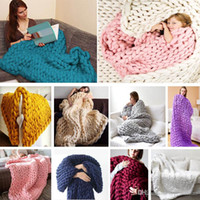 Wholesale knitting yarns crochet threads wholesale - 60*60cm Warm Chunky Knit Blanket Thick Woven Yarn Wool Bulky Knitted Throw Kinitted Throw Photograph Blanket 16 Color XL-384