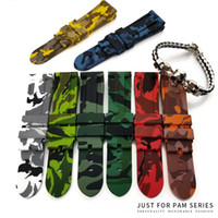Wholesale Strap For Panerai - Wholesale 24mm Colorful Waterproof Rubber Silicone Watch Band Strap Pin Buckle Watchband Strap for Panerai Watch PAM Man Camouflage Tools