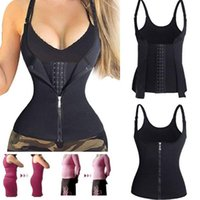 Wholesale shaping vest women - 2 in 1 sexy women's body slimming sculpting bust corset vest buckle zipper Weight Loss Body Shaping Slimming harness Vest tops